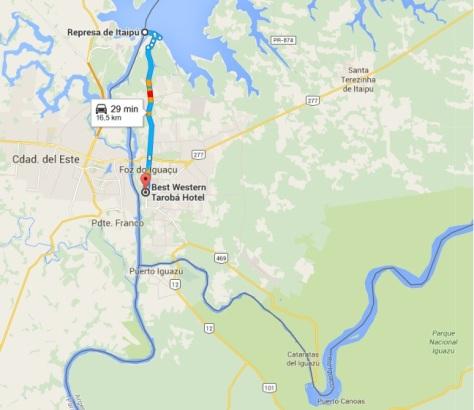 mapa Represa de Itaipu