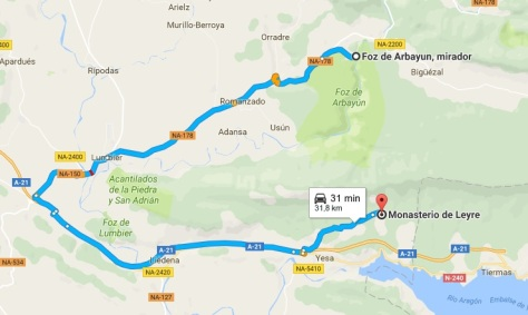 Mapa Foz a Monasterio de Leyre