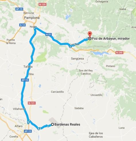 Mapa hasta Foz de Arbayun