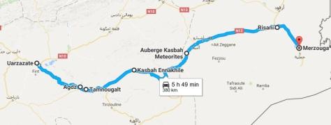 Ruta completa hasta Merzouga