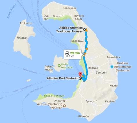 Mapa puerto a hotel Santorini