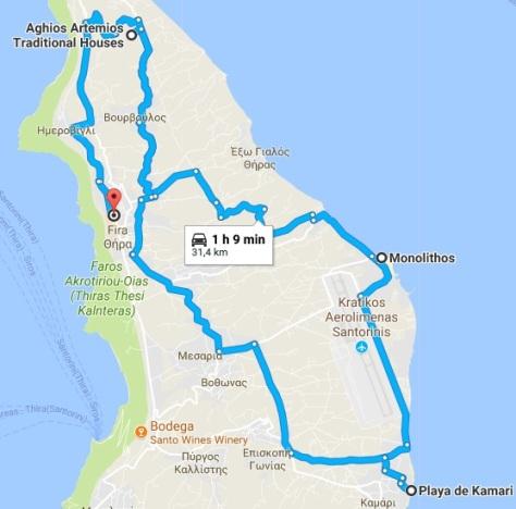 Ruta día 2 Santorini