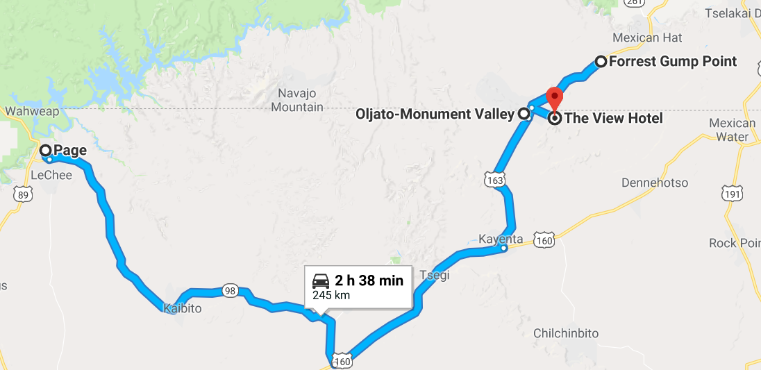 Mapa Monument valley