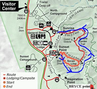Mapa ruta Bryce