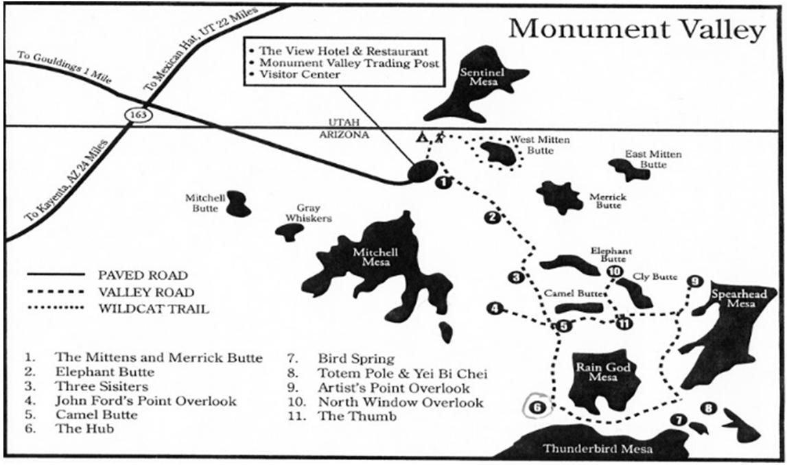 Mapa ruta entre rocas monum Valley